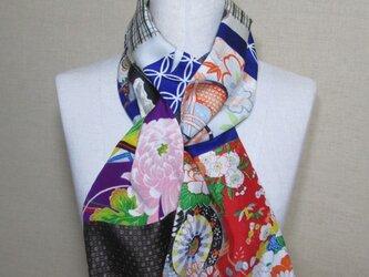 着物リメイク 2way 女児着物×男児着物×大島紬のパッチワークストールの画像