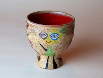赤いフリーカップ/陶芸家がつくる/珍しい器/おしゃれで可愛い陶芸/モダンカップ/現代陶芸の画像