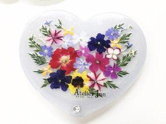 押し花ハートコンパクトミラー(ラメ入りホワイト)の画像