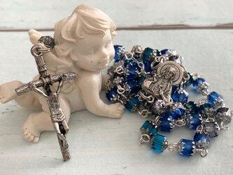 チェコビーズのロザリオ(ブルー系)の画像