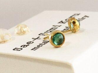 K24 Pure Gold+Emerald 天然エメラルド 純金スタッドピアスの画像