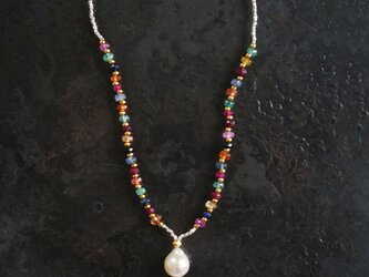 あこや真珠×マルチサファイア×ブラックスピネル・ネックレス n1381の画像