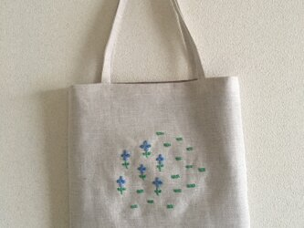 おさんぽバッグ のはら(青い小花)の画像