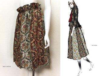 【1点もの・デザイン画付き】ゴブラン織り切りっぱなしハイウエスト8枚接ぎスカート(KOJI TOYODA)の画像