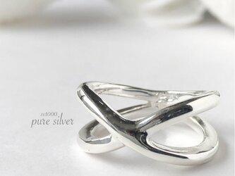 送料無料✴︎デザインリング 純銀  purecubicの画像