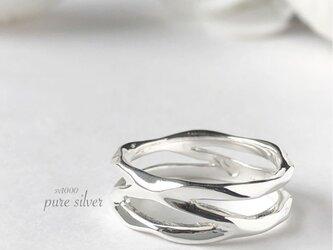 サイズ入荷❣️送料無料✴︎2連すかしリング 純銀  purecubicの画像