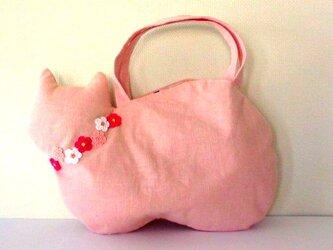 *2020春新作*さくら色のリネンネコバッグ*桜猫Bの画像