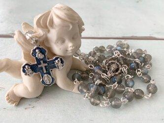 宝石質ブルーラブラドライトのロザリオの画像