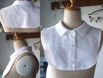 真っ白リネン角丸襟の付け襟の画像