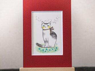 アクリル・ペン原画『坐り猫』日々を愉しむちいさな絵 ミニイーゼル品の画像