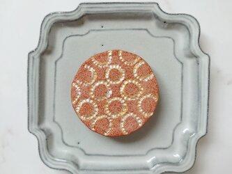 たんぽぽ4(シルバー×レンガ) 陶土ブローチの画像