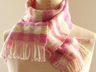 手織り かすり染め糸のミニマフラー(ピンク)の画像