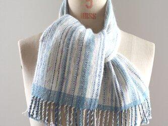 手織り かすり染め糸のミニマフラー(ブルー)の画像