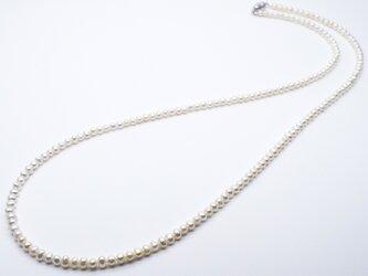 SV925 本真珠ロングネックレス 80cm ベビーパール 淡水 小粒 シルバー 結婚式 フォーマル 送料無料の画像