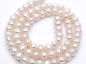 特別SALE 淡水パール 連40cm 本真珠 中粒 ポテト 5.5~7mm*4.5~6mm セミラウンドの画像