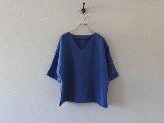 【春NEW】フレンチリネン シンプルV衿のゆるりTシャツの画像