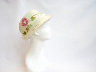 着物地ハット:薔薇の花  着物リメイク/2営業日以内発送/国内送料無料/2003h02の画像