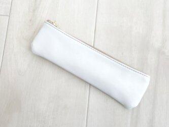 純白革小物 スリム ペンケース 本革 ホワイトの画像