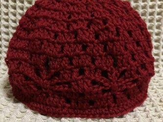 ☘️❄️透かし模様の帽子*(赤)*キッズ・大人の画像