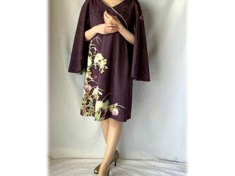 着物ケープワンピース:刺繍菊模様・訪問着・着物リメイク・着物リメイクドレス・国内送料無料・2日以内発送・1904d01の画像