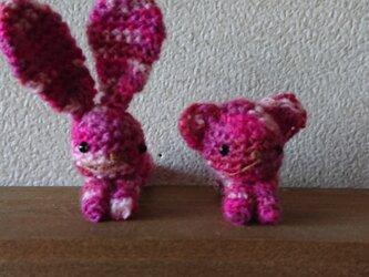 ちびウサとちびクマの編みぐるみピンチセット3の画像