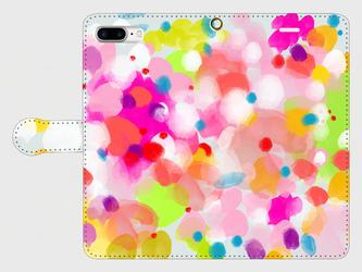 """アートペイント """"キラキラ"""" iphone 6plus/7plus/8plus/11pro 手帳型ケース 抽象画の画像"""