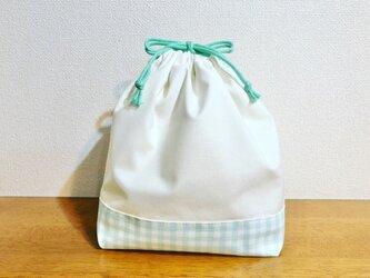 お弁当袋 巾着袋 ギンガムチェック ミントグリーン 刺繍用の画像