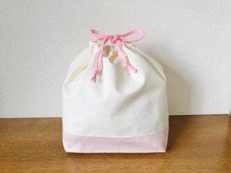 お弁当袋 巾着袋 ピンク ストライプ 刺繍用の画像