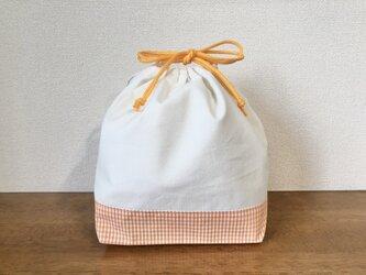 お弁当袋 巾着袋 オレンジ ギンガムチェック 刺繍用の画像