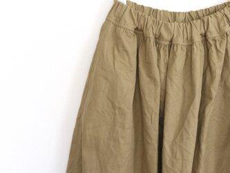 コットンリネン*ギャザースカート*カーキベージュの画像
