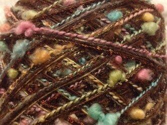 引き揃え毛糸 茶系 カラフルつぶつぶ 80gの画像