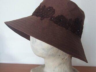 こげ茶・麻の帽子の画像