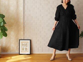 【新作】リネン セレモニードレス ブラック 黒の画像