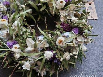 ''富良野ラベンダーとアンティーク紫陽花の草原リース''の画像