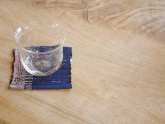 紺色とベージュ・かわいいサイズの裂き織りコースター(1枚)木綿・手織りの画像