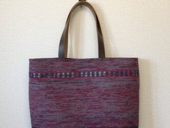 【訳ありセール】裂き織り レース織模様のトートバッグ(本革持ち手)の画像