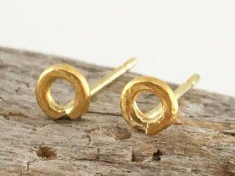 K24 Pure Gold Ring ◇純金の輪 スタッドピアス◇片耳分の画像