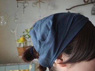 綿麻スモーキーネイビーカラーのヘアターバンの画像