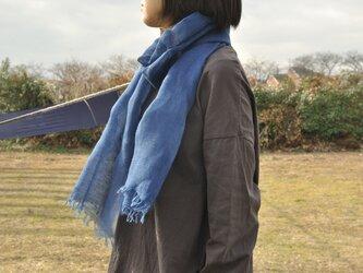 藍染 綿麻ストール(200×37cm)/濃・淡の画像