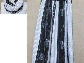 着物リメイク スヌード付き 77㎝丈 越後絵絣の手織り真綿紬から作ったスカートの画像