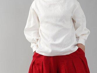 【wafu】中厚 リネン ブラウス レイズド・ネックライン ドロップショルダー カフス袖 長袖/ホワイト t004d-wht2の画像