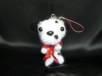 ダルメシアンストラップ♡手作り犬アクセサリー~手編みオシャレ人形の画像