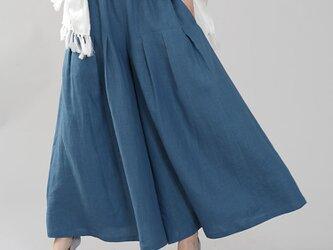 【wafu】やや薄手 リネン 袴(はかま)パンツ ワイドパンツ 40番手/薄縹(うすはなだ) b002k-ush1の画像