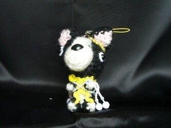 ボストンテリア♡お願いわんちゃんストラップ♡可愛い犬編みぐるみの画像