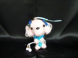 マルチーズ♡お願いわんちゃんストラップ♡手作り犬の編みぐるみ人形の画像