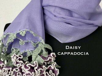 立体刺繍の花付き コットンストール ラベンダー&カーネーションの画像