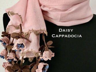 立体刺繍の花付き コットンストール 鈴蘭 ピンクの画像