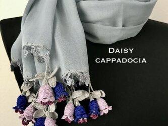 立体刺繍の花付き コットンストール 鈴蘭 グレーの画像