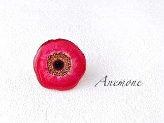 アネモネ花のブローチ(レッド)の画像
