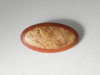 ブローチ -カリン・ピンクアイボリー楕円大-の画像